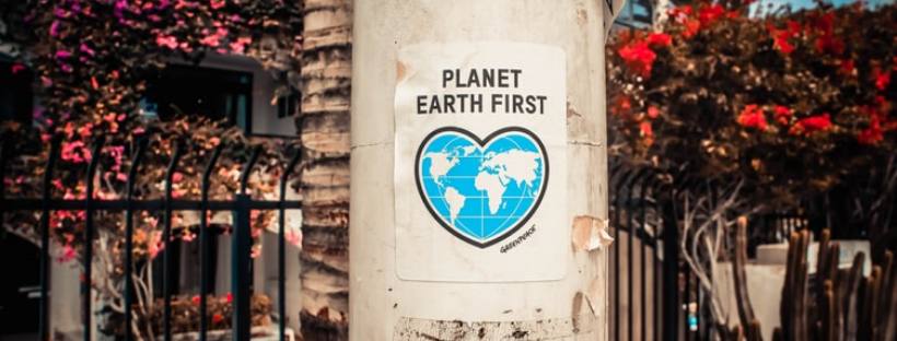 "poster that reads ""planet earth first"" - ways to be eco-friendly"