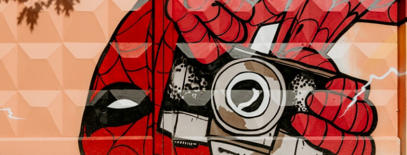 spiderman drawing holding a camera