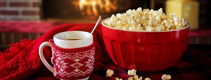 christmas movies - hot chocolate and popcorn