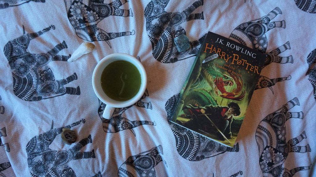 green tea and a book