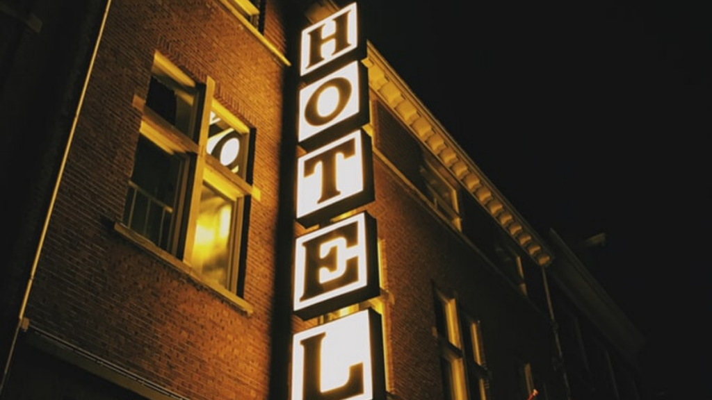 a hotel sign