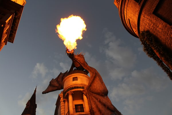 wizarding world in universal studios, orlando, dragon on gringotts band - harry potter things to do before you die