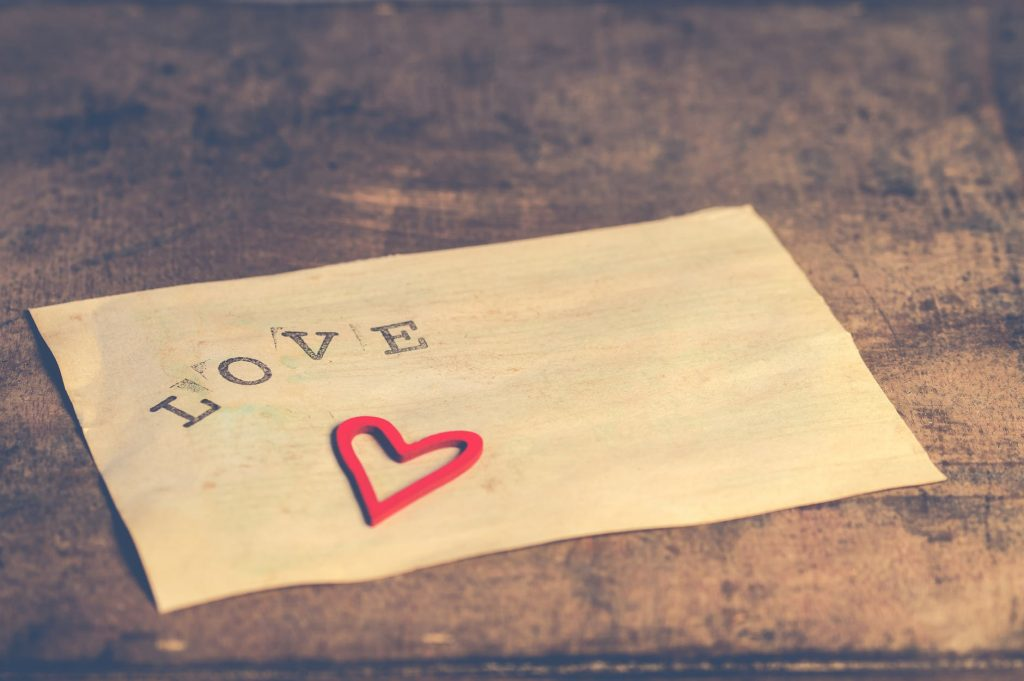 letter that says love on it - keeping the love alive in isolation