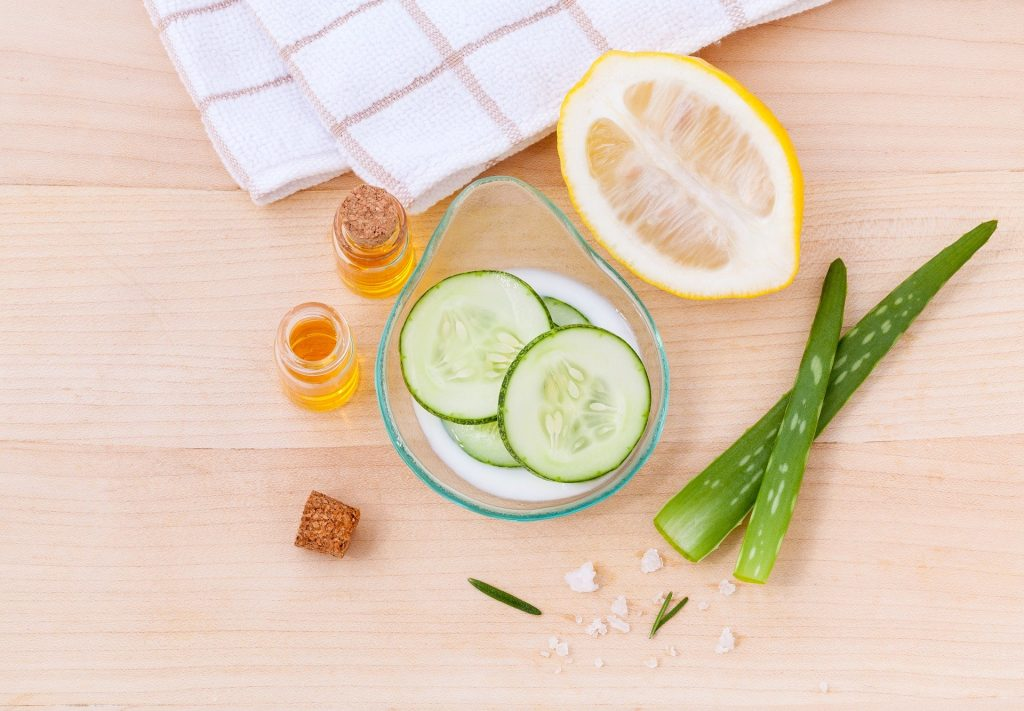 green skincare regime - vegan skincare producs aloe vera cucumber and syrup