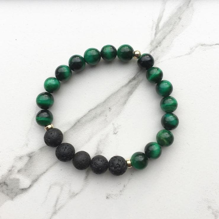 green tiger eye and lava diffuser bracelet for a sustainable stocking stuffer