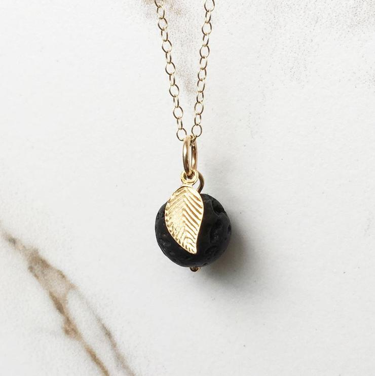 gold apple leaf lava necklace for an eco-friendly valentines day gift