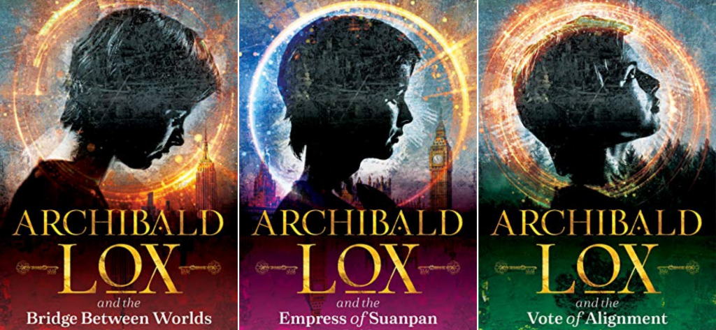 Archibald Lox by Darren shan book covers: the bridge between worlds, the empress of suanpan and the vote of alignment