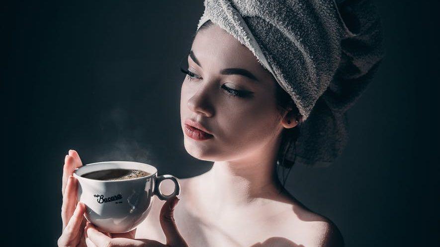 woman with mug of hot coffee